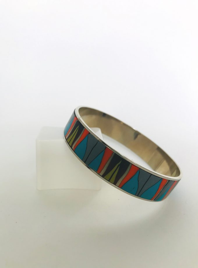 Multicolored Polymer Clay Rhodium Bangle