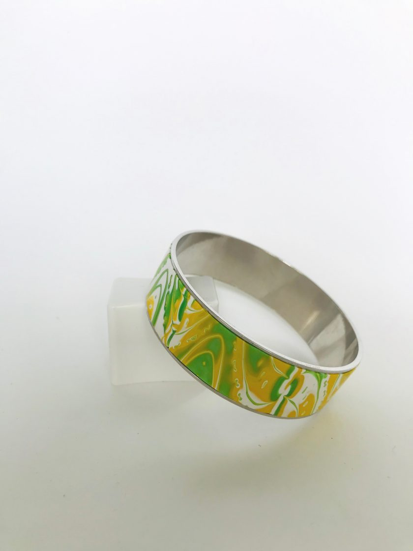 Green & Yellow Polymer Clay Bangle
