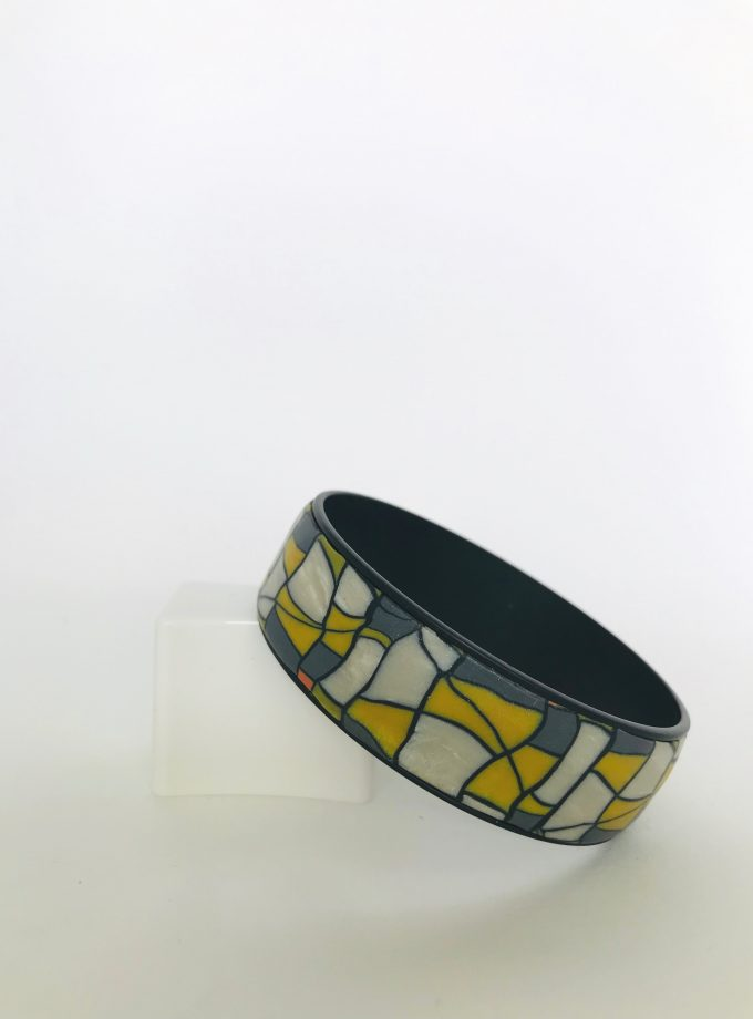Yellow, Grey & White Polymer Clay Bangle