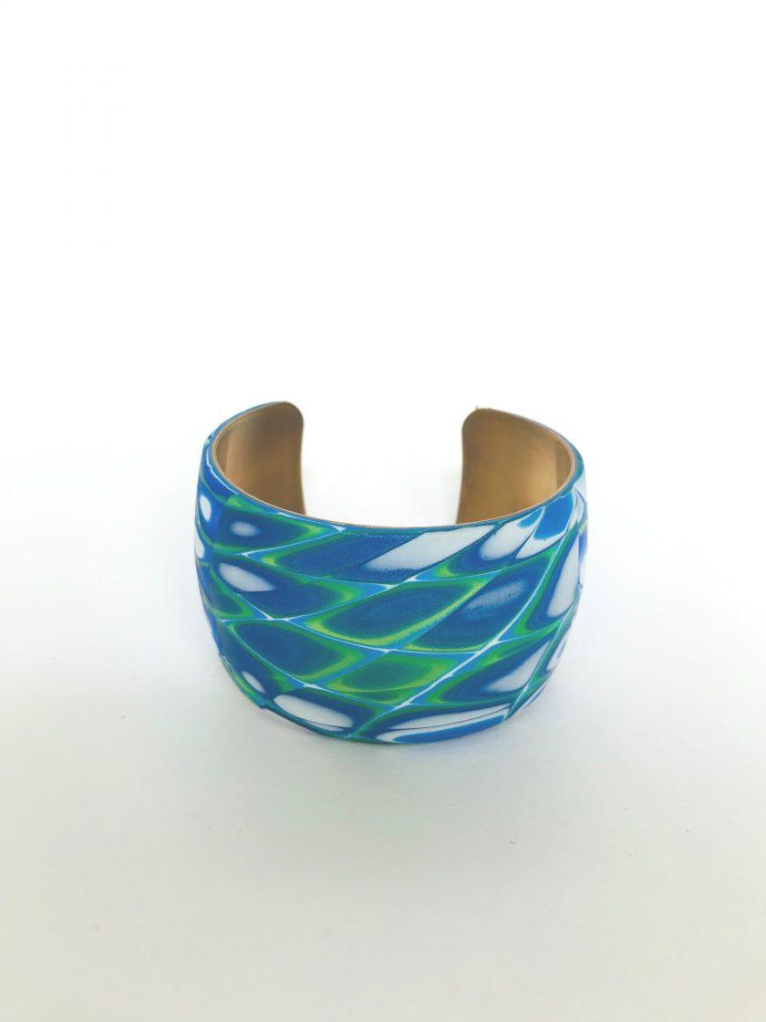 Polymer Clay Blue Brass Cuff