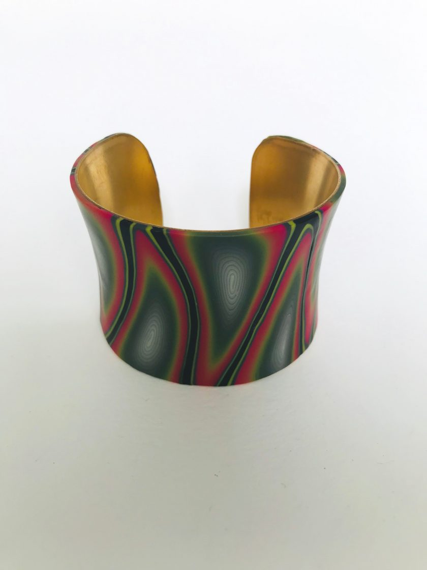 Multicolored Polymer Clay Brass Cuff