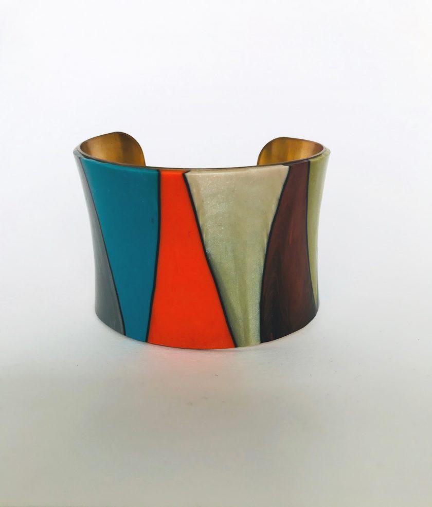 Multicolored Polymer Clay Brass Cuff