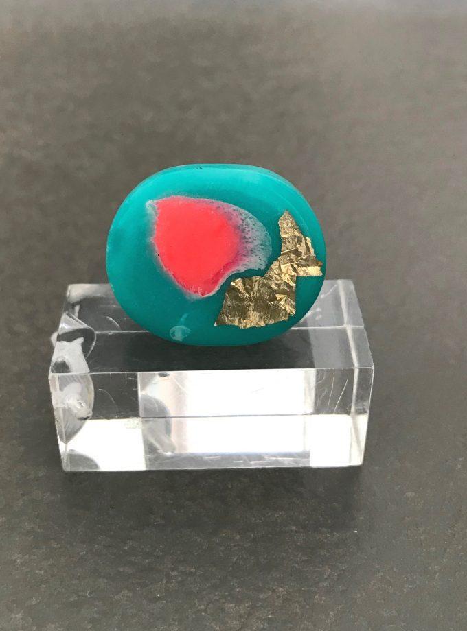 Aqua Coral Resin Ring