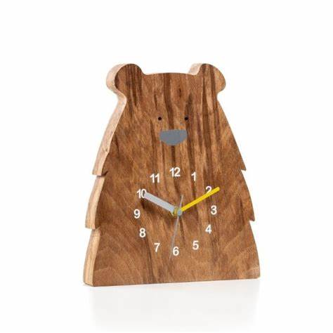 Wooden Grizzly Bear Clock