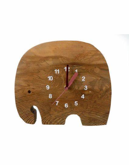 Wooden Elephant Clock