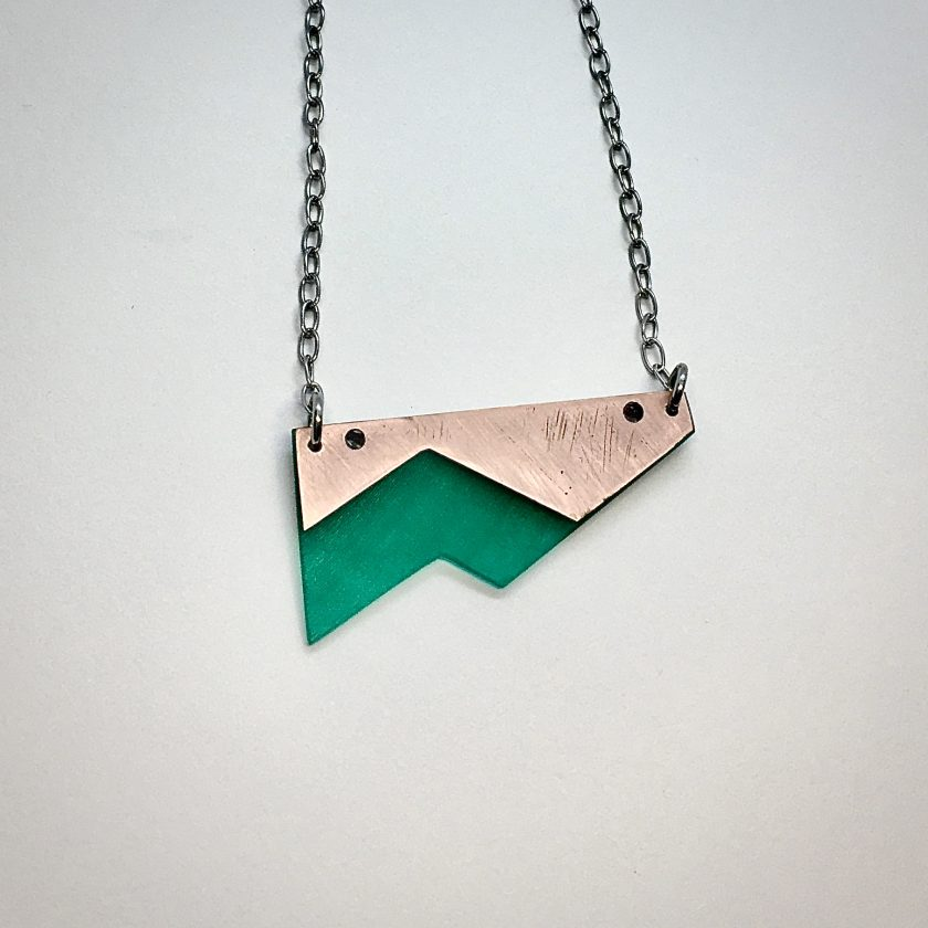 Iasc Designs Green Vinyl and Copper Shard Necklace