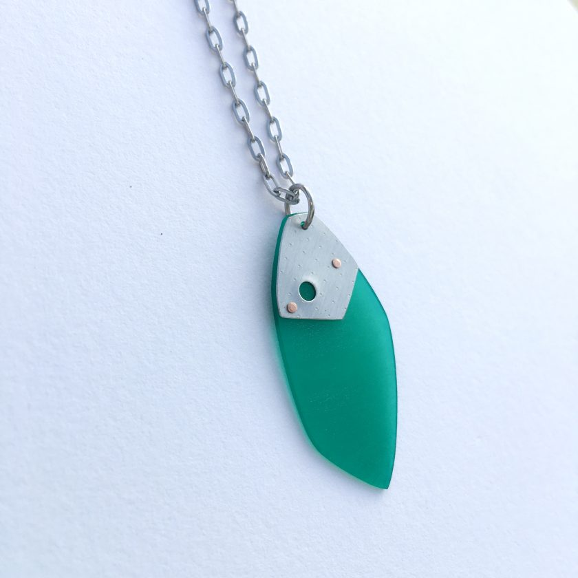Iasc Designs Green Vinyl and Riveted Steel Necklace