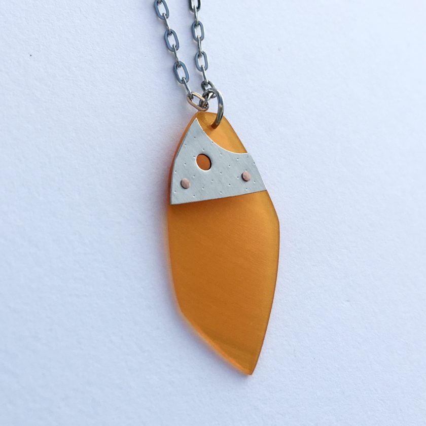 Iasc Designs Orange Vinyl & Riveted Steel Necklace