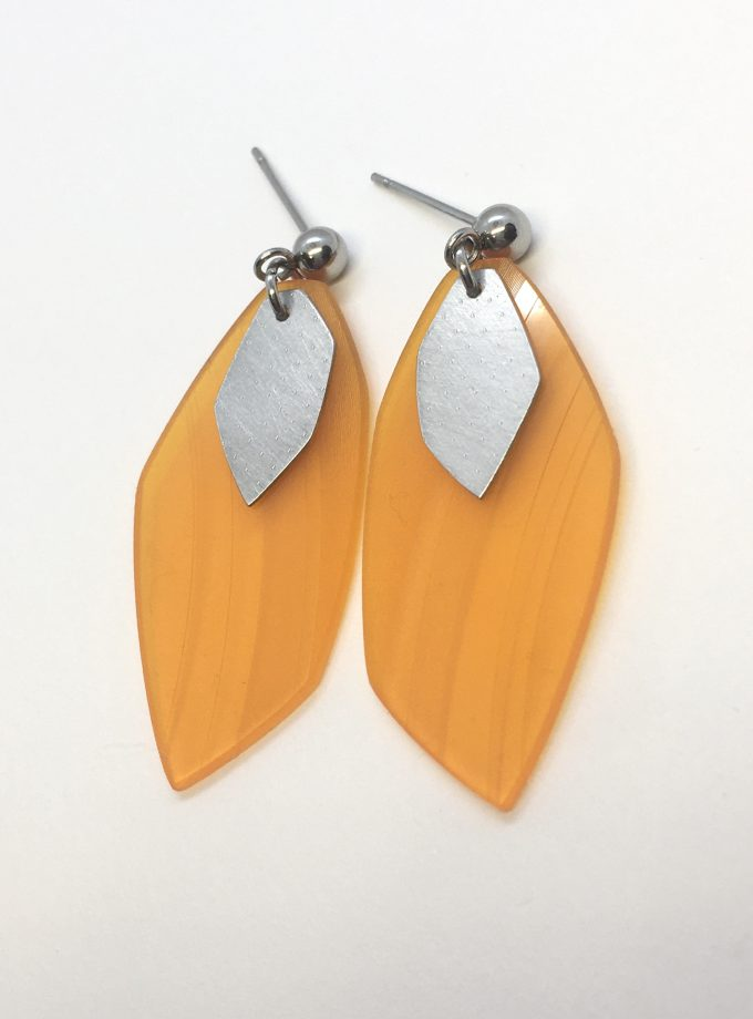 Iasc Designs Orange Vinyl and Steel Earrings