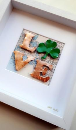 Framed Copper and Enamel Shamrock