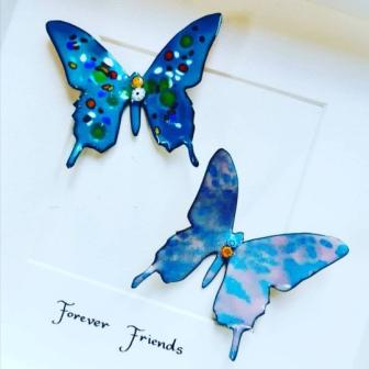 Framed Copper and enamel Butterflies