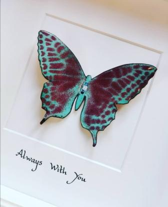 Framed Copper and enamel Butterfly