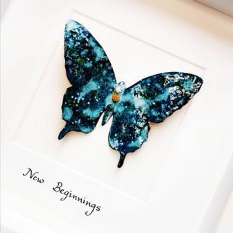 Framed Copper and enamel Butterfly