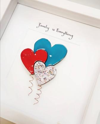 Framed Copper and enamel hearts