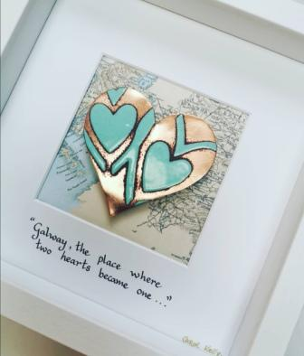 Framed Copper and enamel heart