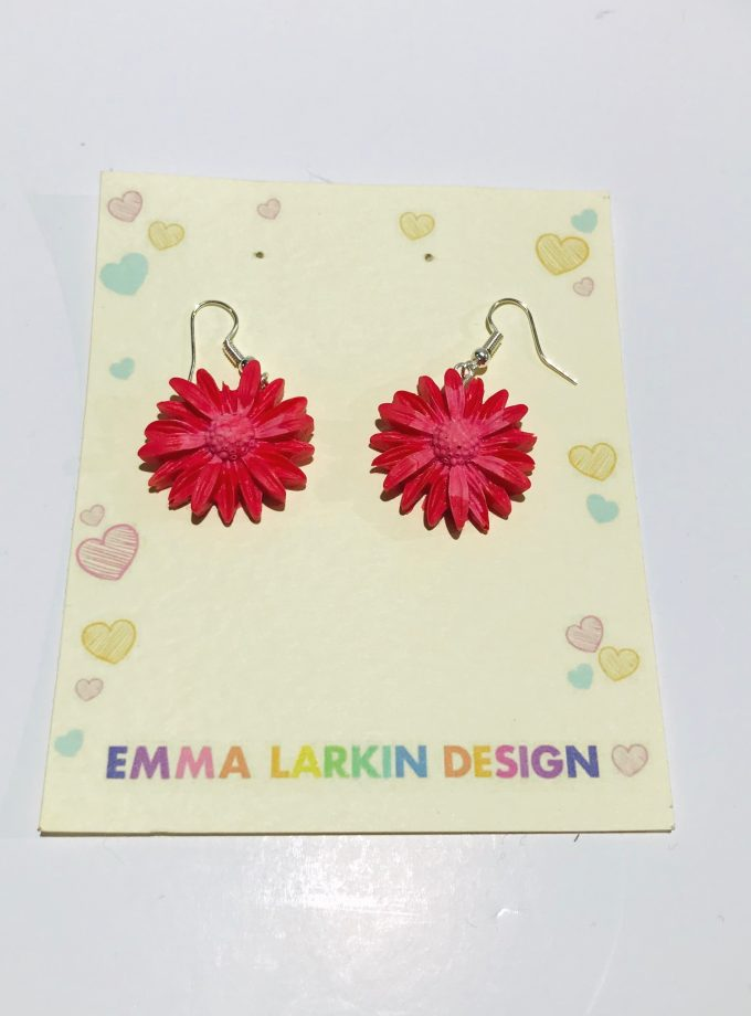 Small Pink Flower Silicone Earrings