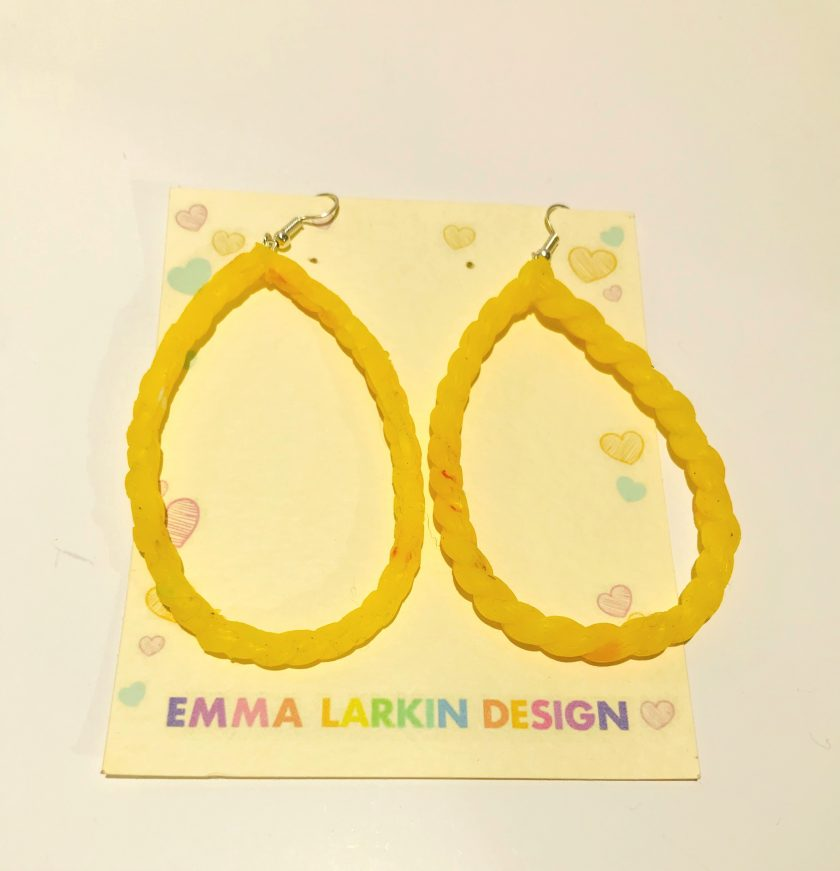 Yellow Lobe Loop Silicone Earrings