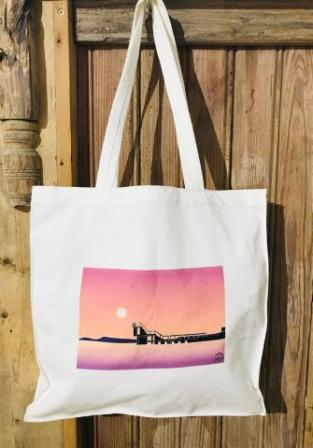 Small Canvas Tote Bag BlackRock Sunset