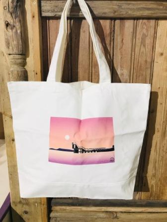 Large Canvas Tote Bag BlackRock Sunset