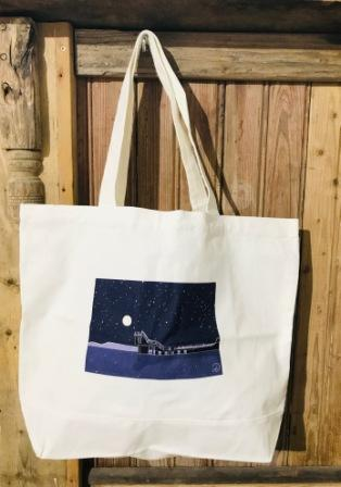 Large Canvas Tote Bag BlackRock at Night